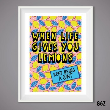 Life Lemons Wall Print