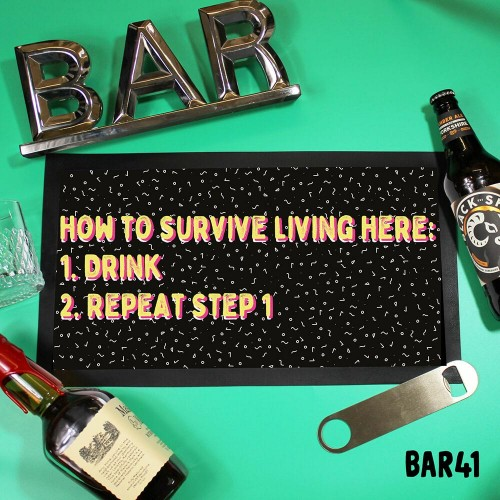 Survive Drink Bar Mat