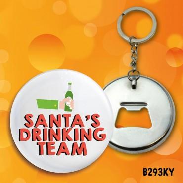 Santa Drinking Team Keyring