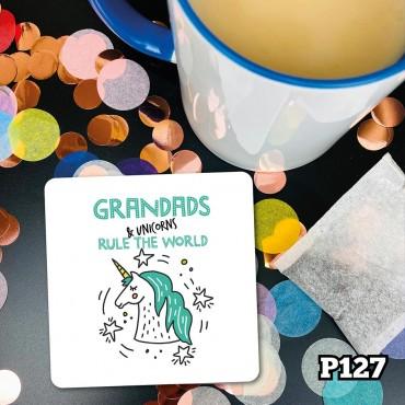 Grandad & Unicorns Coaster
