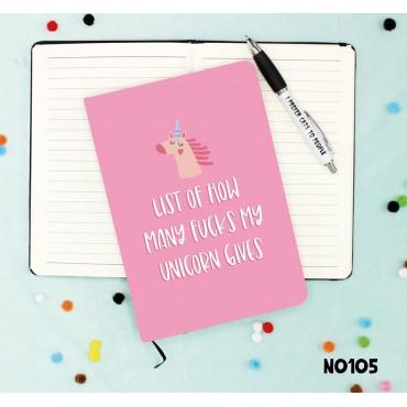 List Of How Many Fucks My Unicorn Gives Notebook