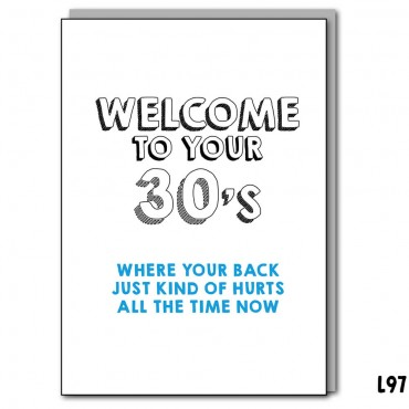 Welcome to your 30's