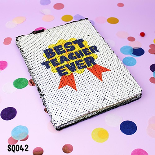 Best Teacher Sequin Notebook