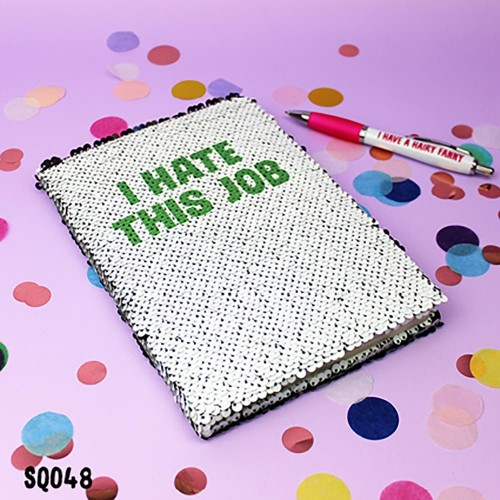 Hate Job Sequin Notebook