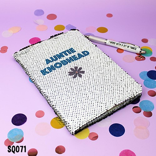 Auntie Knobhead Sequin Notebook