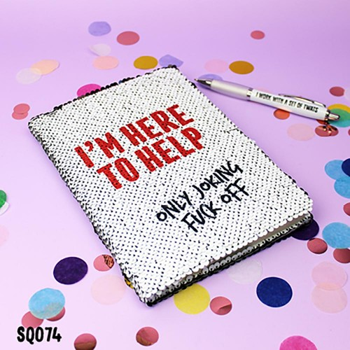 Here to Help Sequin Notebook