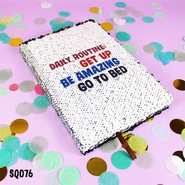 Daily Routine Sequin Notebook