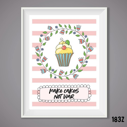 Bake Cake Not War Print